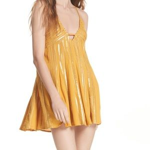 Free people mustard sequins mini swing dress sz.XS